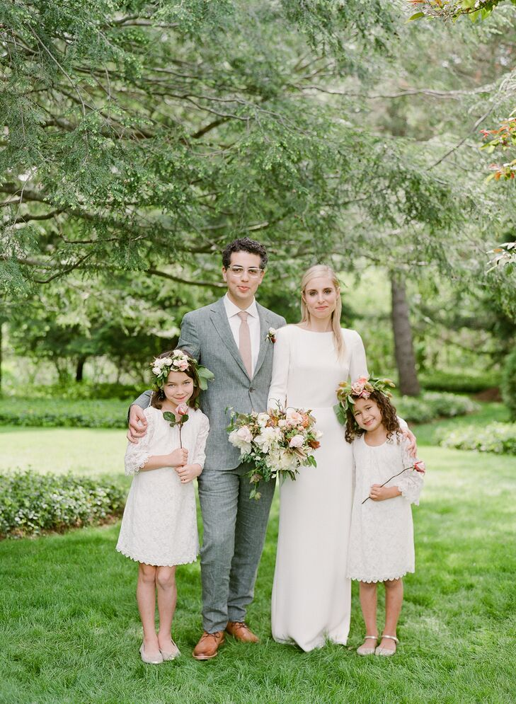 The flowers girls each wore lush flower crowns for their walk down the aisle.