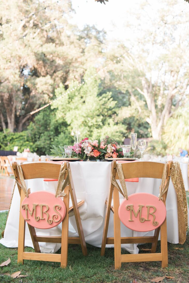 Pink and Gold Mr. and Mrs. Chair Signs
