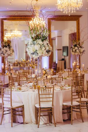 Tall Hydrangea and Curly Willow Centerpieces