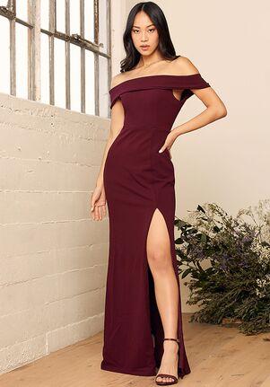 Lulus Aveline Burgundy Off-the-Shoulder Maxi Dress Off the Shoulder Bridesmaid Dress