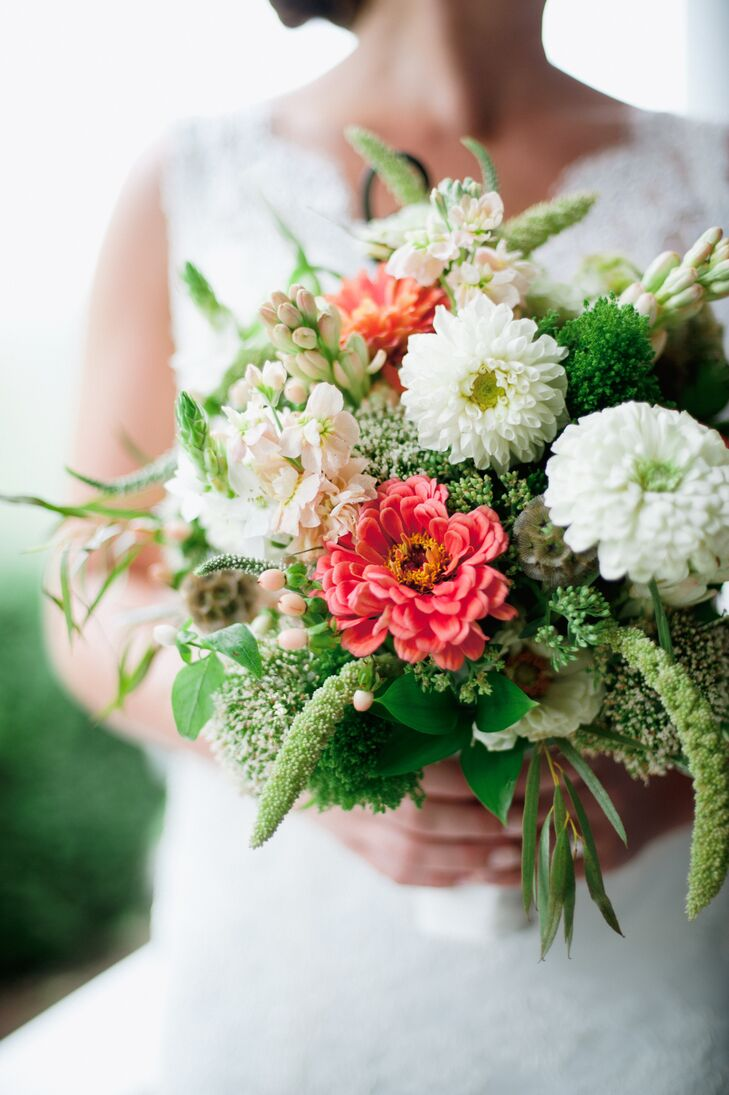 Pink And White Bouquet With Zinnia And Hyacinth Flowers