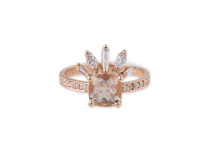 Square morganite diamond engagement ring
