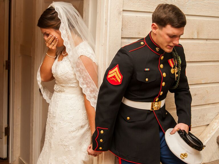 Viral photo of marine praying with bride on wedding day