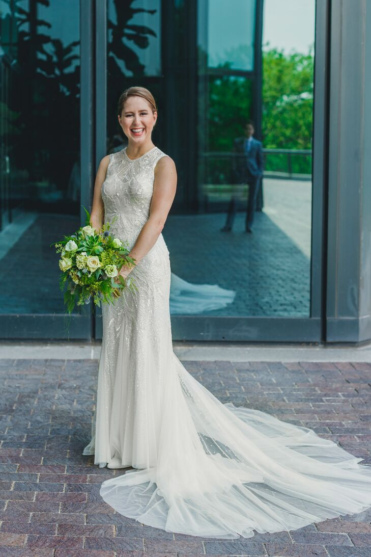 """It was classic and unique,"" Stephanie says of her beaded sheath gown."