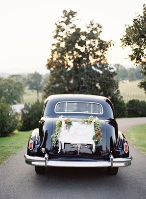 Vintage Wedding Car with Just Married Sign