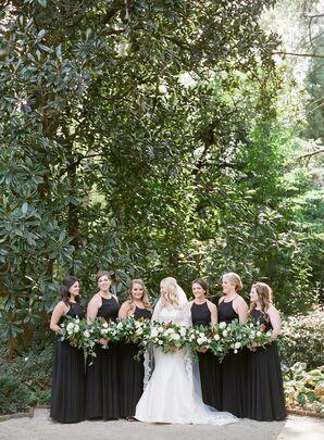 Modern, Black Halter Bridesmaid Dresses