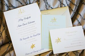 Pale Yellow and Blue Starfish Invitation Suite
