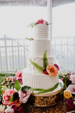 Tiered Buttercream Cake with Gilded Floral Cakestand