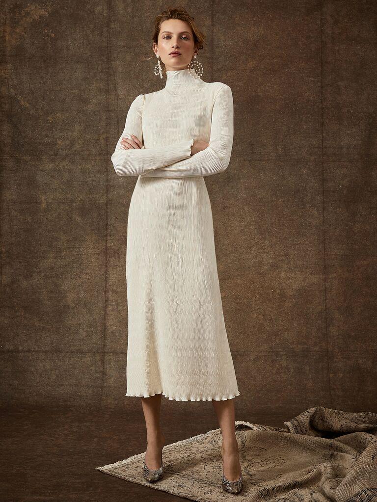 Danielle Frankel Spring 2020 Bridal Collection textured tea-length long sleeve wedding dress