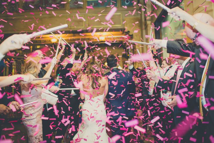 Contemporary Fuchsia Confetti Wedding Exit