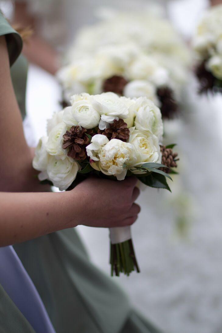 Ranunculus and Pinecone Bridesmaid Bouquets