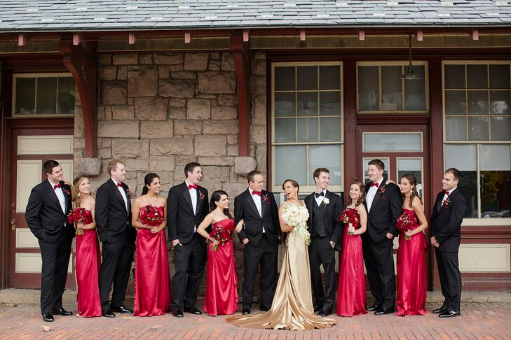Wedding Party in Black, Red and Gold