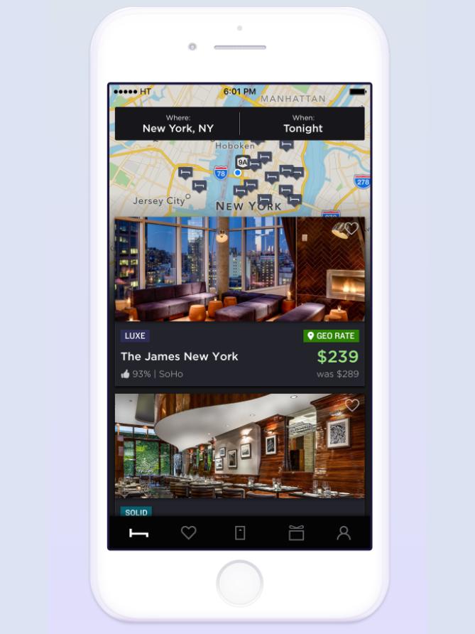 Phone view of HotelTonight app