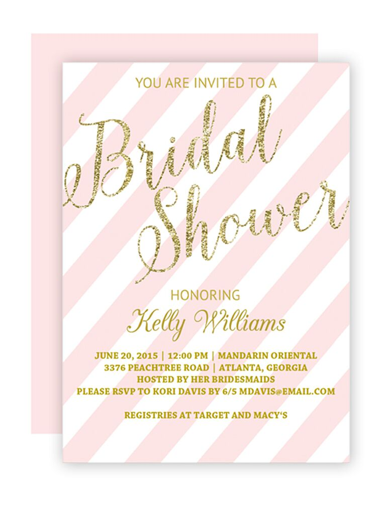 Charmant DIY Blush And Gold Bridal Shower Invitation Printable Template