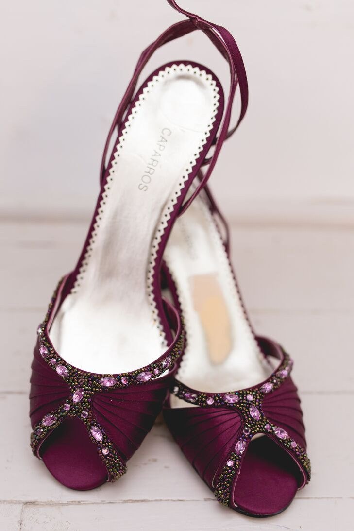 Dark Purple Satin Bridal Heels with Purple Stone Embellishments and Beading
