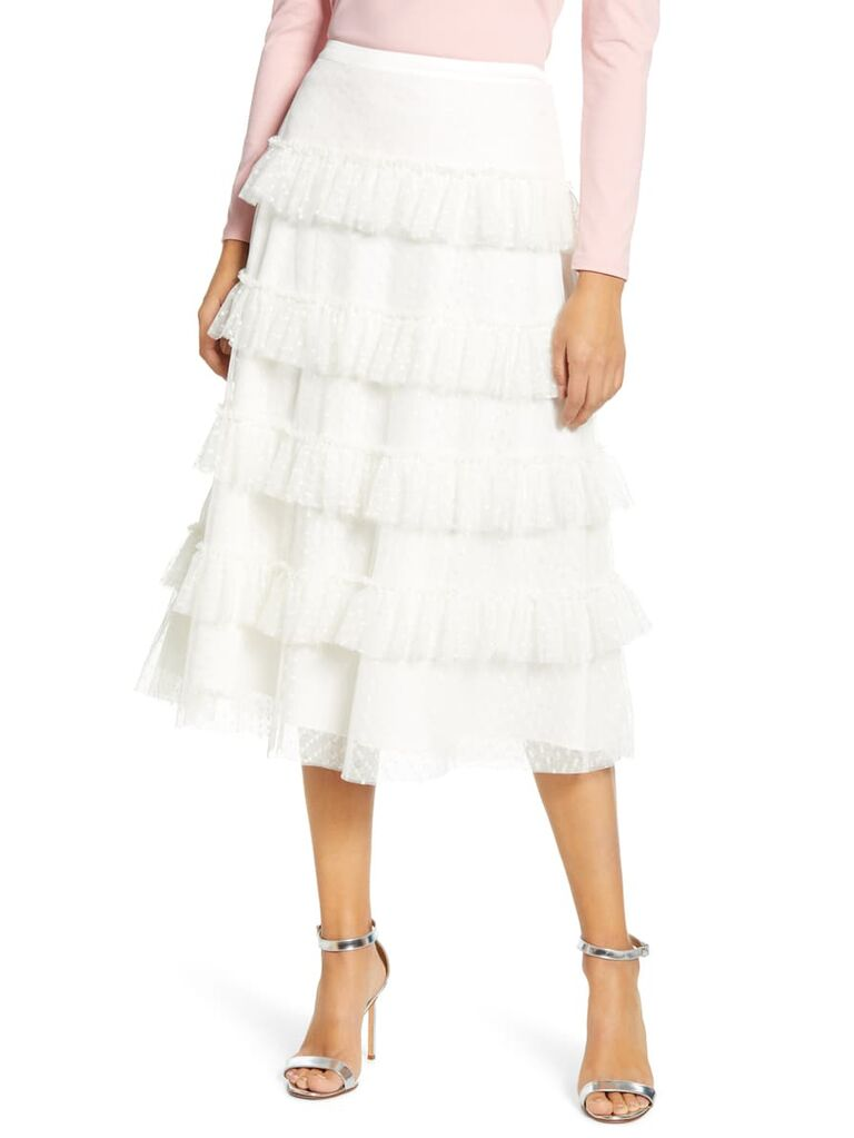 white tiered dot mesh skirt