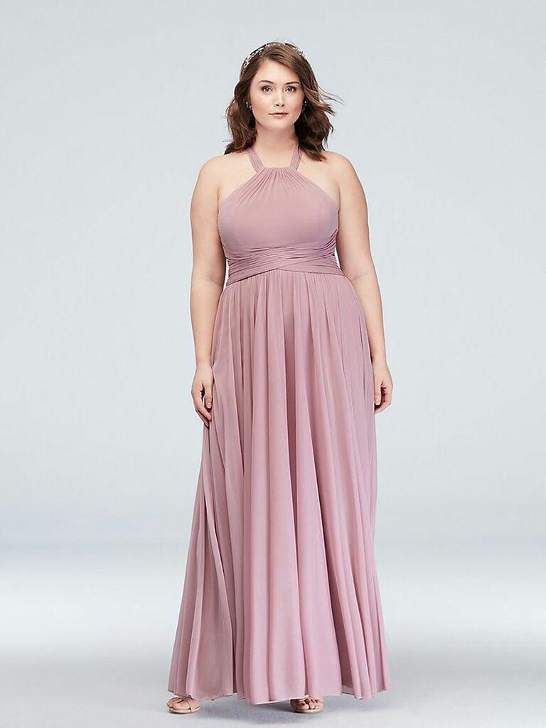 mauve long bridesmaid dress with halter neckline