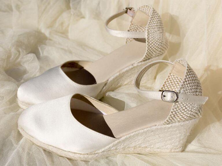 espadrilles bridal wedges in white