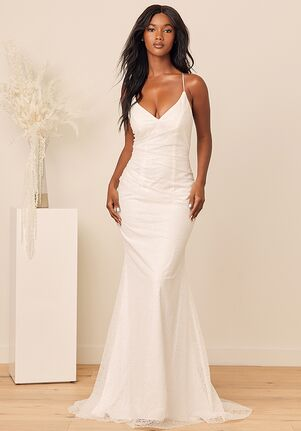 Lulus Luxe Bridal Beginning of Forever White Glitter Lace-Up Mermaid Maxi Dress Mermaid Wedding Dress