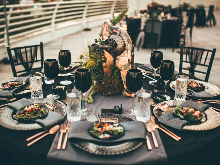 Black and rose gold wedding reception tablescape