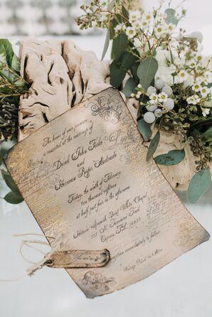 Metallic Antiqued Wedding Invitations
