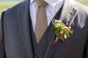 Pink Hypericum Berry Boutonniere