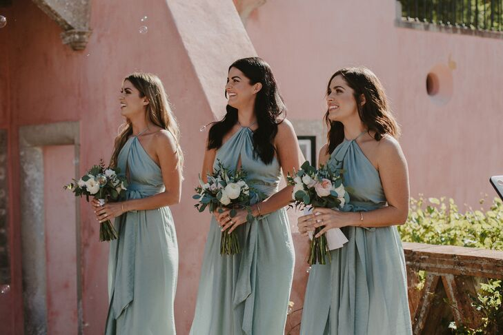 Classic Bridesmaids Wearing Gray-Blue Gowns