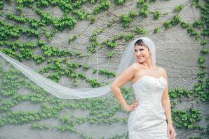 Beaded Oleg Cassini Wedding Dress and Cathedral-Length Veil