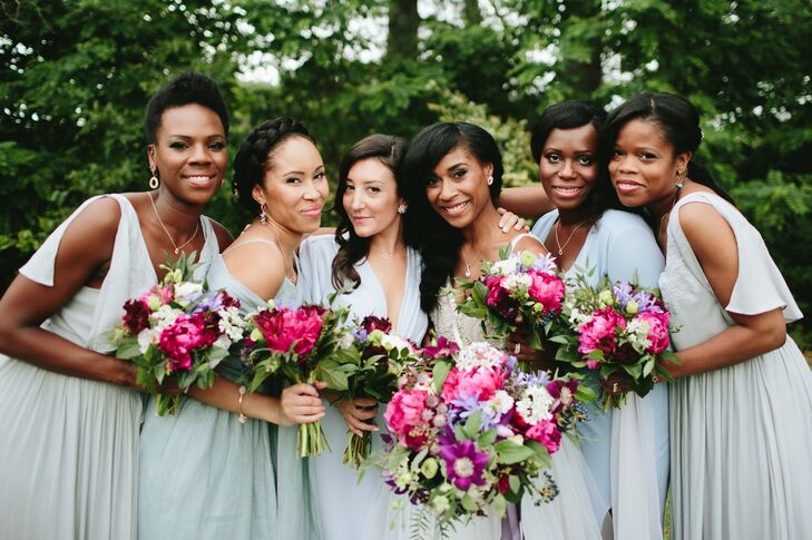 """I wanted to keep the process stress-free for me and convenient for my bridesmaids, so I picked a dusty blue color, gave them a few examples that conveyed a casual-chic vibe and let them pick their own dresses,"" Abbie says. ""Done and done!"""