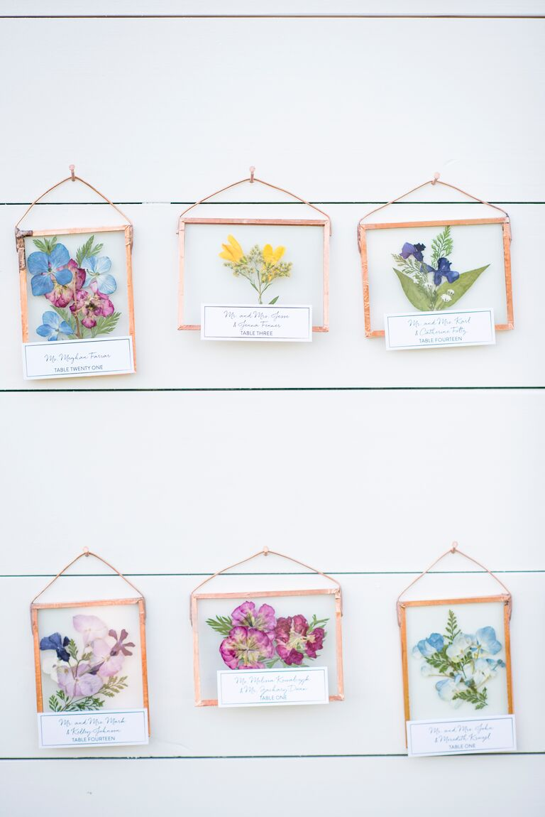 pressed flowers wedding escort cards miniature glass picture frames
