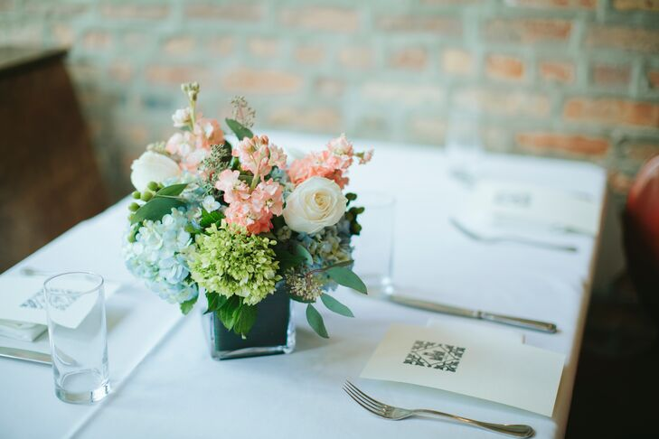Flowers were seasonal and added an eclectic touch to the restaurant's brunch place settings.