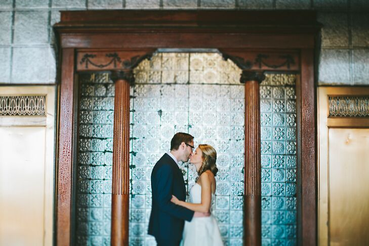 The groom wore a suit from Banana Republic while the bride wore an ivory dress from BHLDN.