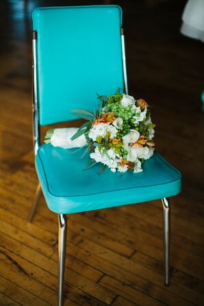 Bouquet on Teal Chair