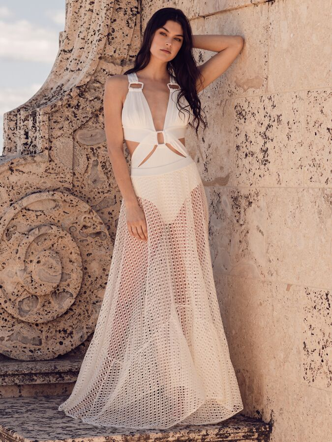 PatBO netted beach skirt with cut-out one piece swimsuit
