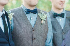 Eucalyptus Boutonniere With Vest and Bow Tie