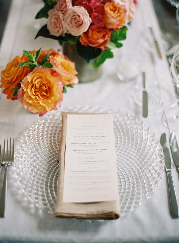 Simple white menus were placed at each guest's seat.