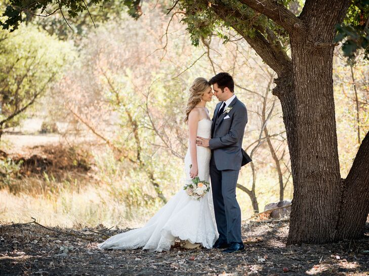 Ivory Wedding Dress With Lace Overlay