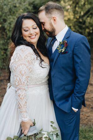Bride in Long Sleeve Lace Dress