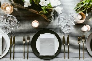 Modern Place Setting on Ticking Stripe Linens