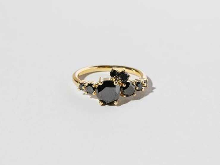 Eight-stone black diamond engagement ring