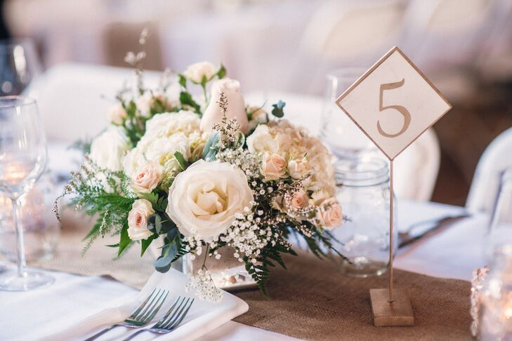 Floral Centerpiece with Baby's Breath and Roses