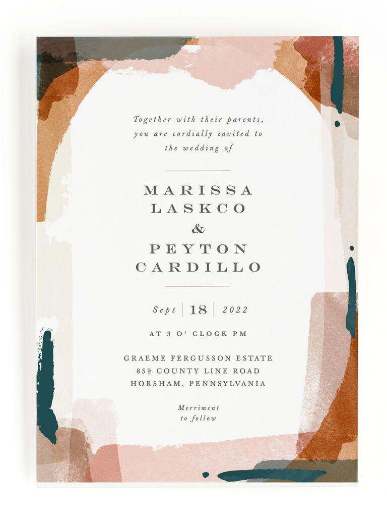 Modern watercolor fall wedding invitation