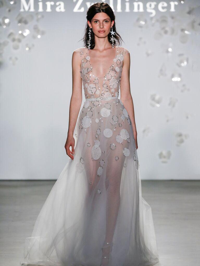 Mira Zwillinger Spring 2020 Bridal Collection sheer V-neck wedding dress