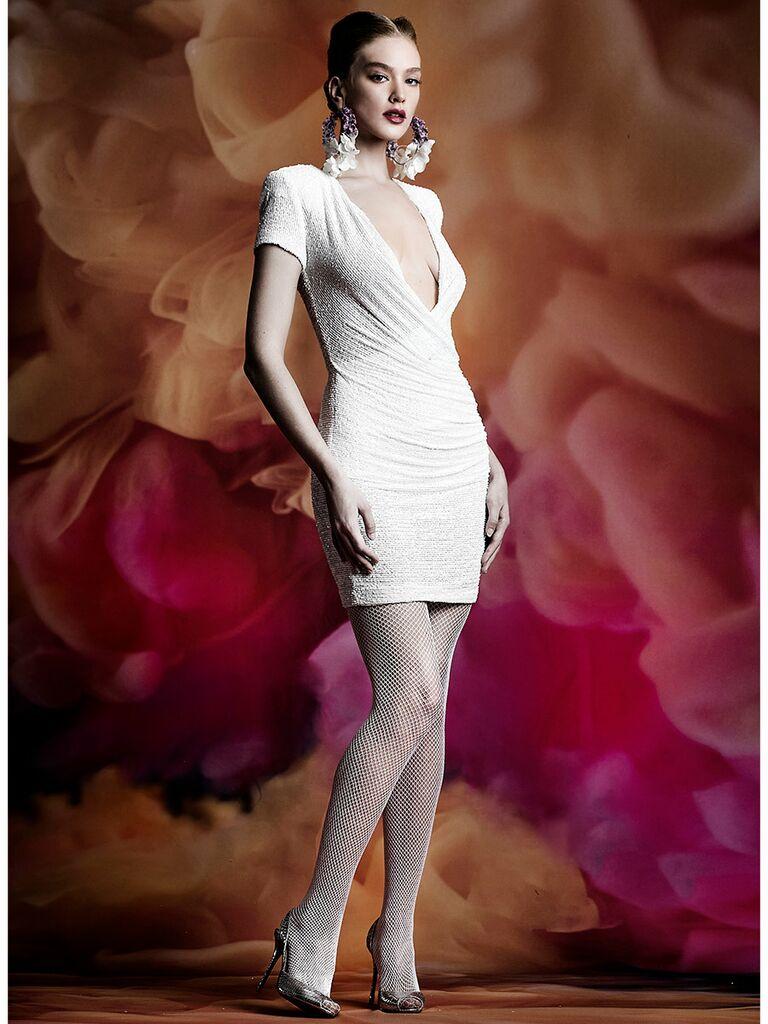Naeem Khan wedding dress short dress with plunging neckline