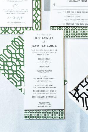 Minimal Modern Invitation Suite with Green Geometric Design
