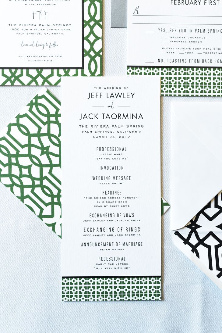 Minimal Modern Invitation Suite with Green Geometric Design