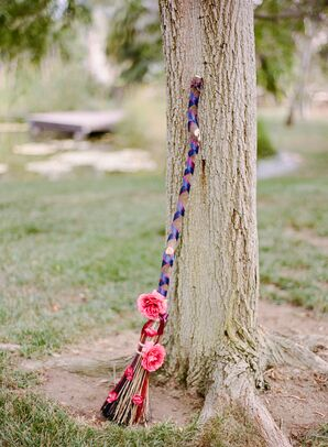 Broom for Jumping the Broom with Blue Ribbon and Pink Peonies