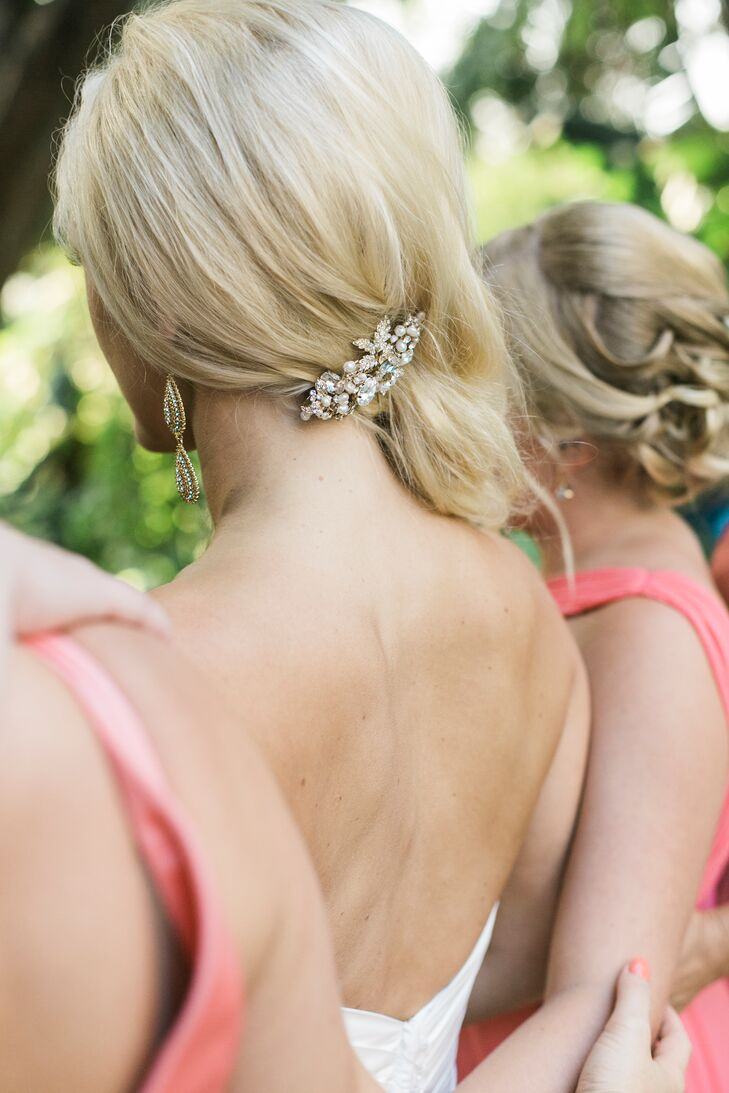"""While I didn't wear a veil, I did have a stunning diamond clip in my hair for the reception,"" says Jillian, whose strapless gown and full waves delivered a full dose of old-Hollywood glamour."