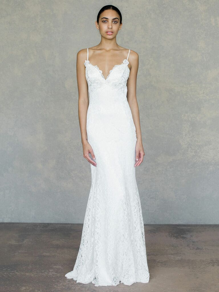 Claire Pettibone Spring 2019 white lace wedding dress with spaghetti straps