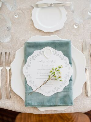 White-and-Green Place Setting for Reception at The Woodstock Inn and Resort in Vermont